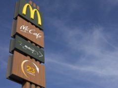 McDonald's sign against blue sky